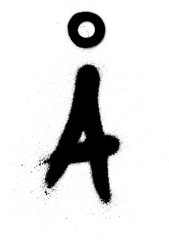 sprayed Scandinavian graffiti vowel font in black over white