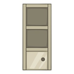 Grey bookcase icon, cartoon style