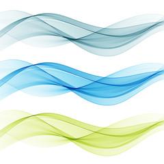 Blue and green transparent waves set.