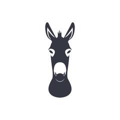 Dark blue silhouette head of a donkey. Vector illustration.