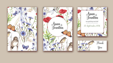 Watercolor hand drawn wedding invitations set with different wild meadow flowers on white background. Vibrant floral design for wedding invitation, save the date and thank you cards.