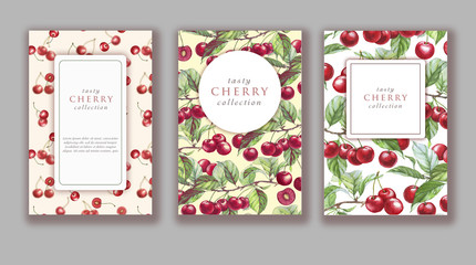 Hand drawn watercolor banner set with ripe cherry fruits. Card design for sweets and pastries filled with berry, candy, yogurt, dessert menu, health care products. With place for text