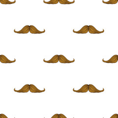 Seamless vector illustration. Pattern with hipsters mustache on white background. Mens face fashion. Drawing with contour