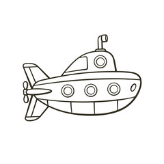 Vector illustration. Hand drawn doodle of submarine with periscope and portholes. Cartoon sketch. Isolated on white background