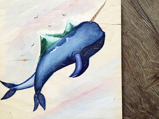 picture on the tree. whale unicorn. board