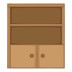 Bookcase icon, cartoon style