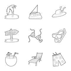 Beach resort icons set, outline style
