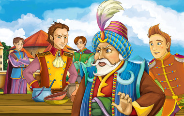cartoon fairy tale scene with some kind of traveler looking like magician going to market in front of a castle