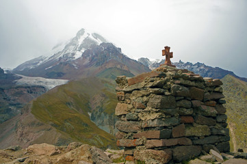 Chapel with cross near to Kazbek top