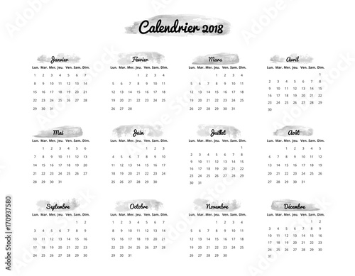 calendrier en franais 2018 calendar for 2018 in french monday sunday vector illustration