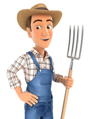 3d farmer standing up with fork