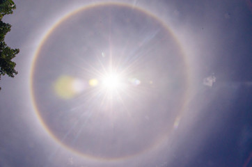halo sun in the bright sunshine background