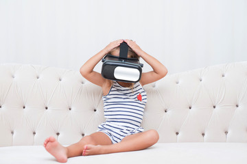 kid girl with vr glasses