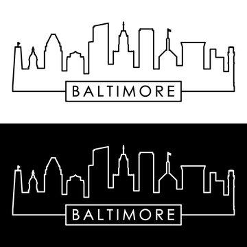 Baltimore skyline. Linear style. Editable vector file.