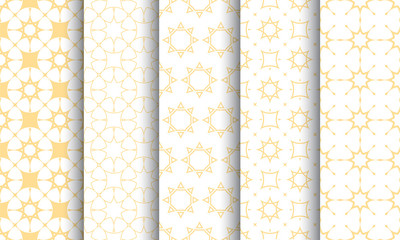 Seamless islamic pattern set, white and golden texture