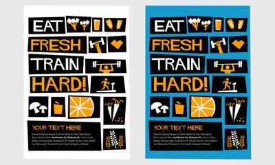 Eat Fresh, Train Dirty! (Flat Style Vector Illustration Poster Design)