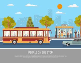 Public Transport Bus Service Flat Poster