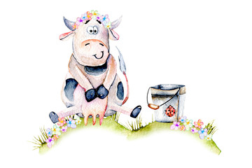 Watercolor cute cartoon cow sitting on a meadow near the bucket, ladybug and simple flowers illustrations, hand drawn isolated on a white background