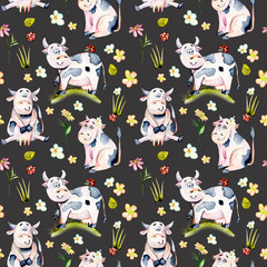 Seamless pattern with watercolor cute cartoon cows, ladybugs and simple flowers illustrations, hand drawn isolated on a dark background