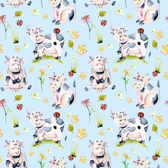 Seamless pattern with watercolor cute cartoon cows, ladybugs and simple flowers illustrations, hand drawn isolated on a blue background