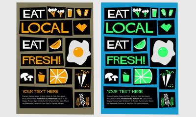 Eat local, eat fresh! (Flat Style Vector Illustration Poster Design)