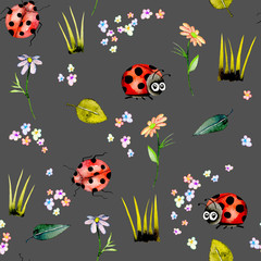 Seamless pattern with watercolor cute cartoon ladybugs and simple flowers, hand drawn isolated on a dark background