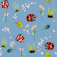 Seamless pattern with watercolor cute cartoon ladybugs and simple flowers, hand drawn isolated on a blue background