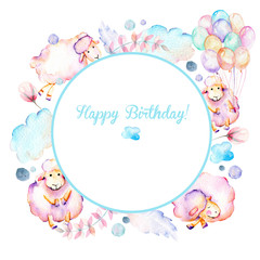 Circle frame, wreath with watercolor cute pink sheeps, air balloons, plants and clouds illustrations, hand drawn on a white background, baby boy shower card, Happy Birthday design