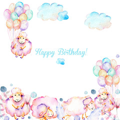 Card template with watercolor cute pink sheeps, air balloons, plants and clouds illustrations, hand drawn on a white background, baby boy shower card, Happy Birthday design