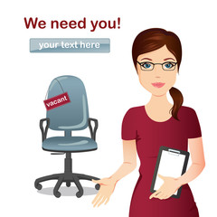 HR manager hires a Professional for the position / Manager invites a gesture for a vacant seat, Staff recruitment, Vacancy. Flat design, vector cartoon illustration.