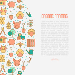 Organic farming concept with thin line icons of animals, tools and symbols for eco products, farming flyers and banners. Agriculture vector illustration for web page, print media.