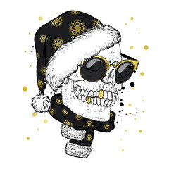 A skull with glasses, a scarf and a Christmas hat. Vector illustration. New Year's and Christmas. Santa Claus.