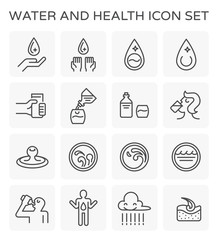 Vector line icon of water drinking and health.