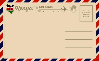Vintage postcard with map of Kenya