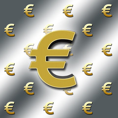 European currency sign, €, in bright sparkling gold colored, against a Silver background with the golden colored € - signs in the back.