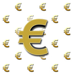 European currency sign, €, in bright sparkling gold colored, against a white background with the golden colored € - signs in the back.