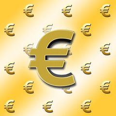European currency sign, €, in bright sparkling gold colored, against a Golden background with the golden colored € - signs in the back.