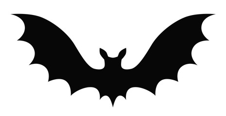 Black vector cartoon bat silhouette isolated on white background