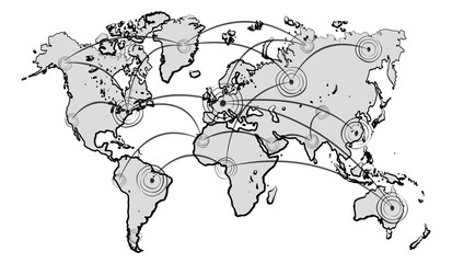 Hand drawn world map with connections sketch