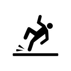Wet floor icon signal isolated on white background. Caution wet floor. Vector stock.
