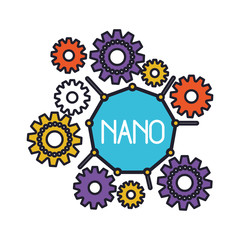 set gear machinery around of nano molecule colorful silhouette with thick contour vector illustration