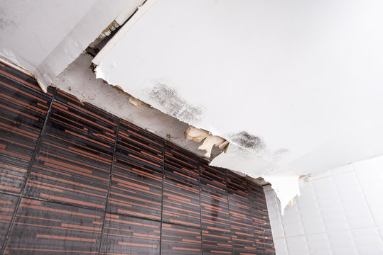 Damaged ceiling from water leak in rainy season