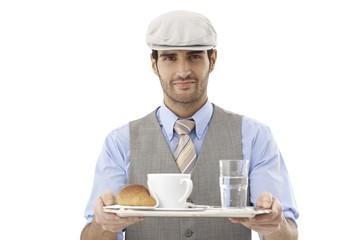 Waiter serving coffee