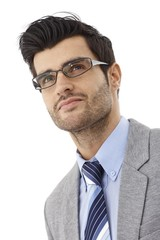 Closeup portrait of handsome businessman