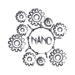 set gear machinery with nano text in center monochrome blurred silhouette on white background vector illustration