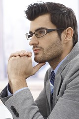 Profile of thinking businessman