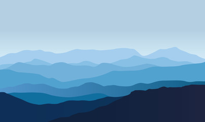 Blue vector landscape with silhouettes of misty mountains