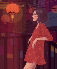 Vector beautiful slender girl with a hairstyle quads on the balcony at night, against the background of signboards and in the light of Chinese lanterns