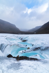 Meltwater stream flowing from Longyear glacier, Svalbard