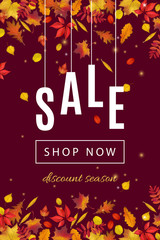 Autumn discount sale banner template with fall leaves on dark brown background. Shop market poster for your web design. Vector illustration